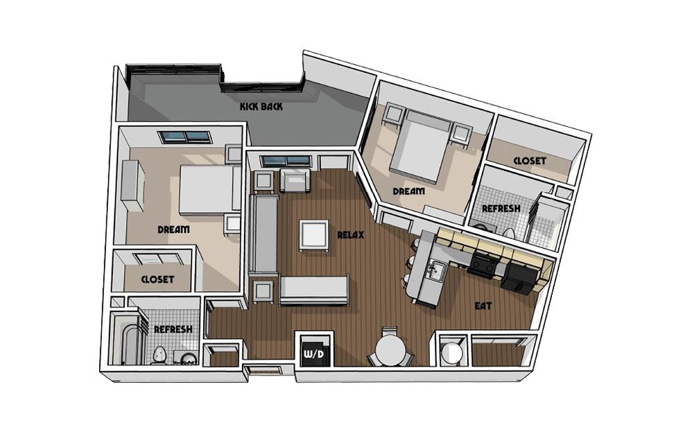 B2 - 2 bedroom floorplan layout with 2 baths and 1000 square feet.
